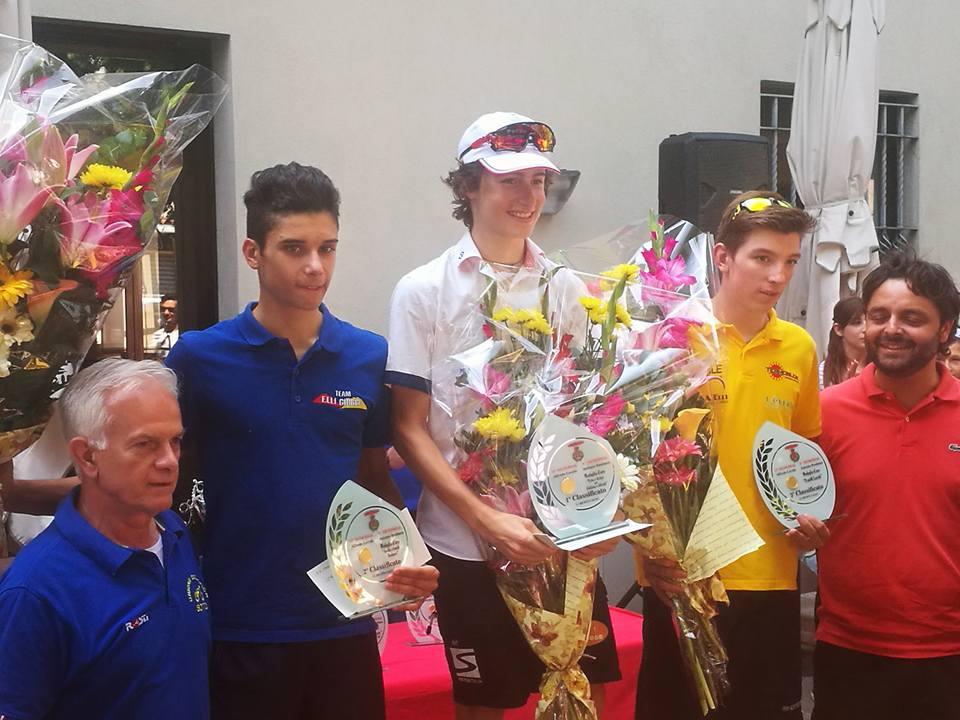 Il podio del Memorial Alfredo Lecchi di Osio Sotto vinto da Samuel Quaranta