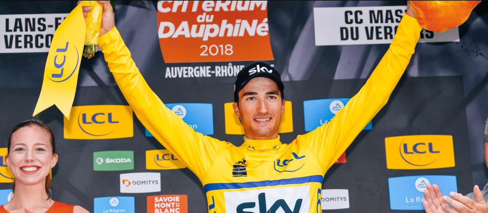 Gianni Moscon leader dopo la  quarta tappa del  Critérium du Dauphiné 2018