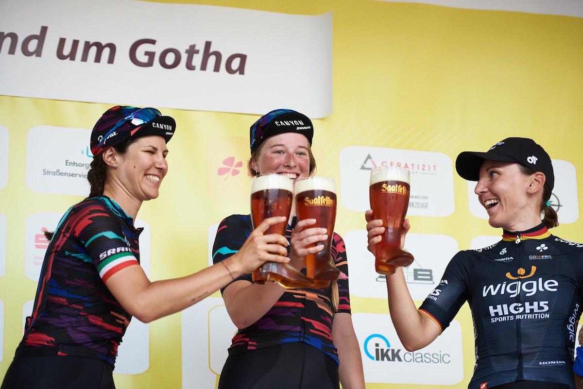 Il podio della sesta tappa del Lotto Thuringen Ladies Tour 2018