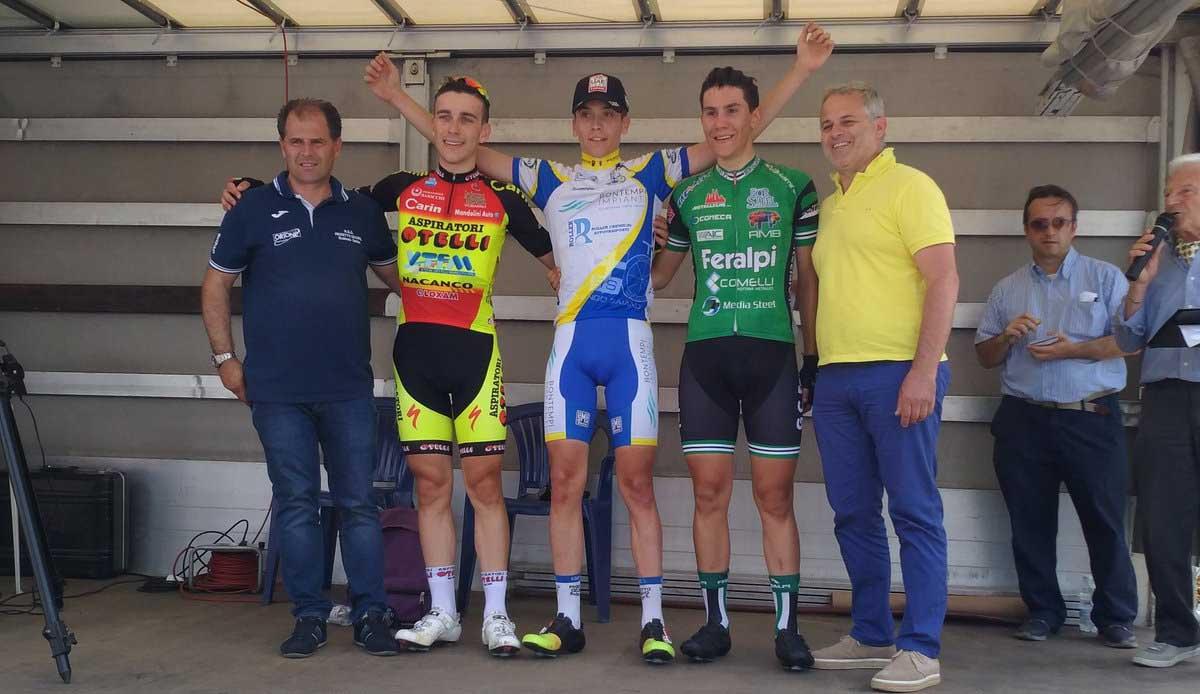 Il podio della gara Allievi di Monticelli Brusati vinta da Nicholas Norbis