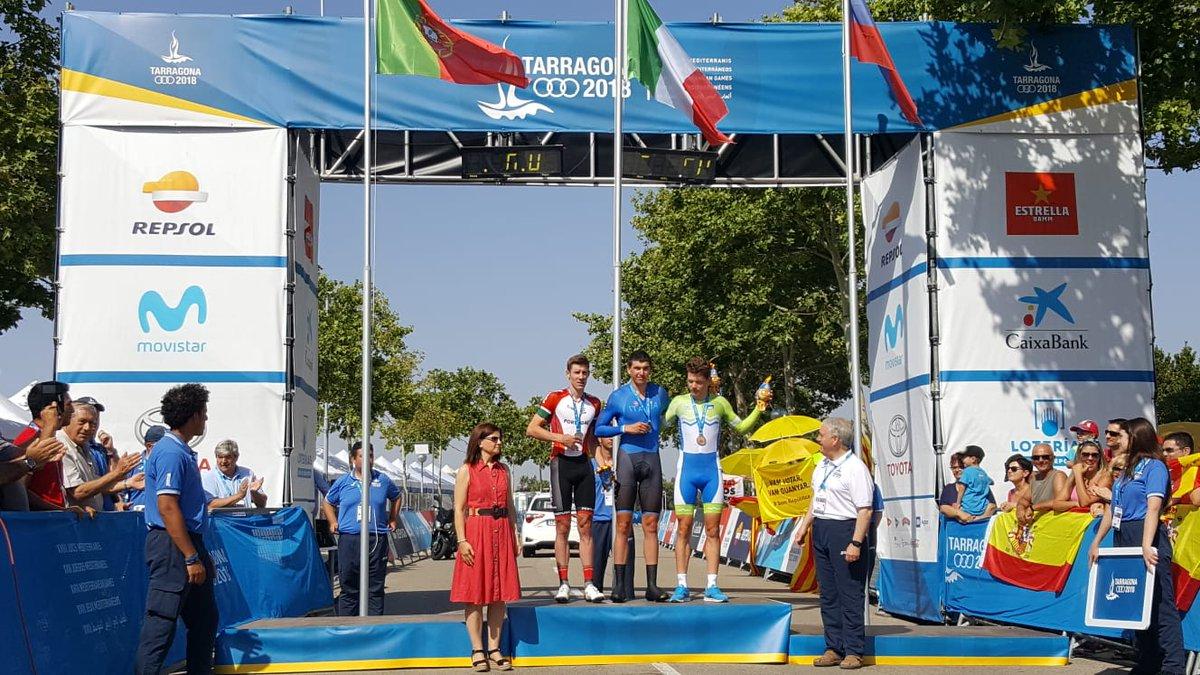 Il podio maschile della cronometro dei Giochi del Mediterraneo
