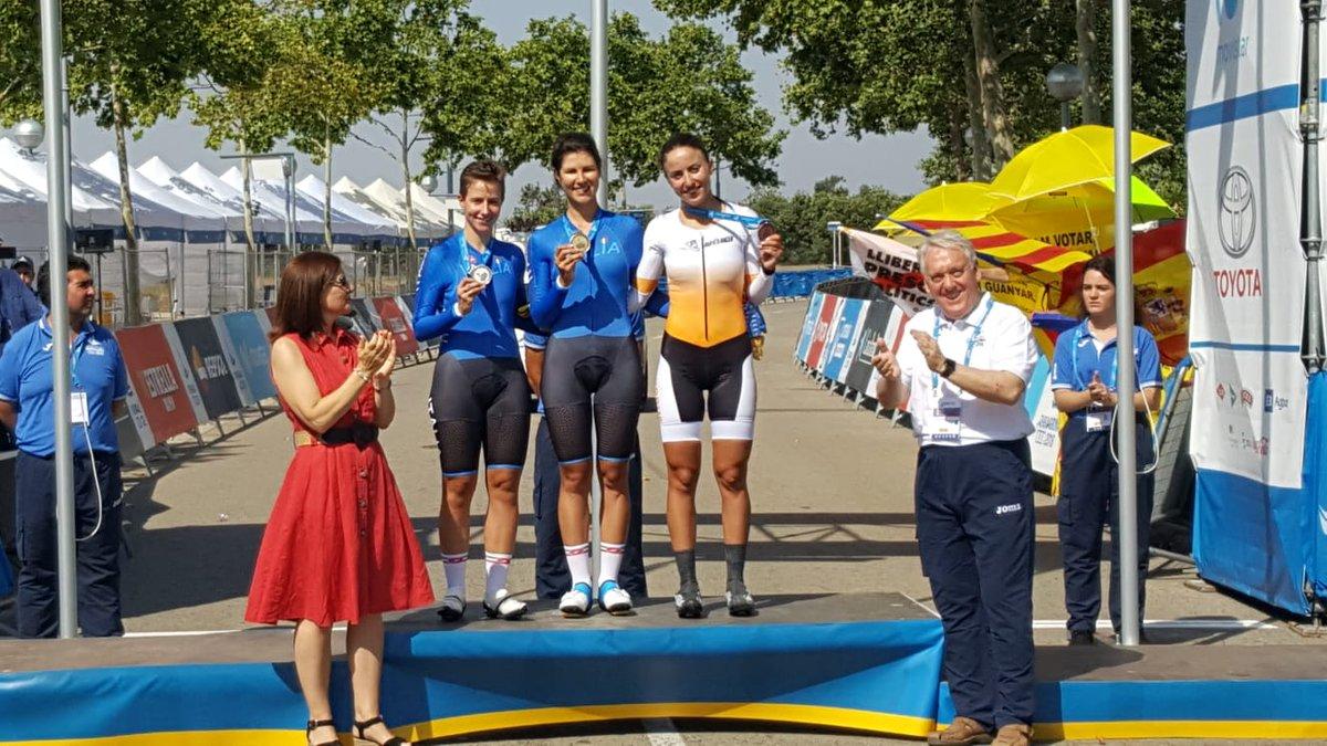 Il podio femminile della cronometro dei Giochi del Mediterraneo