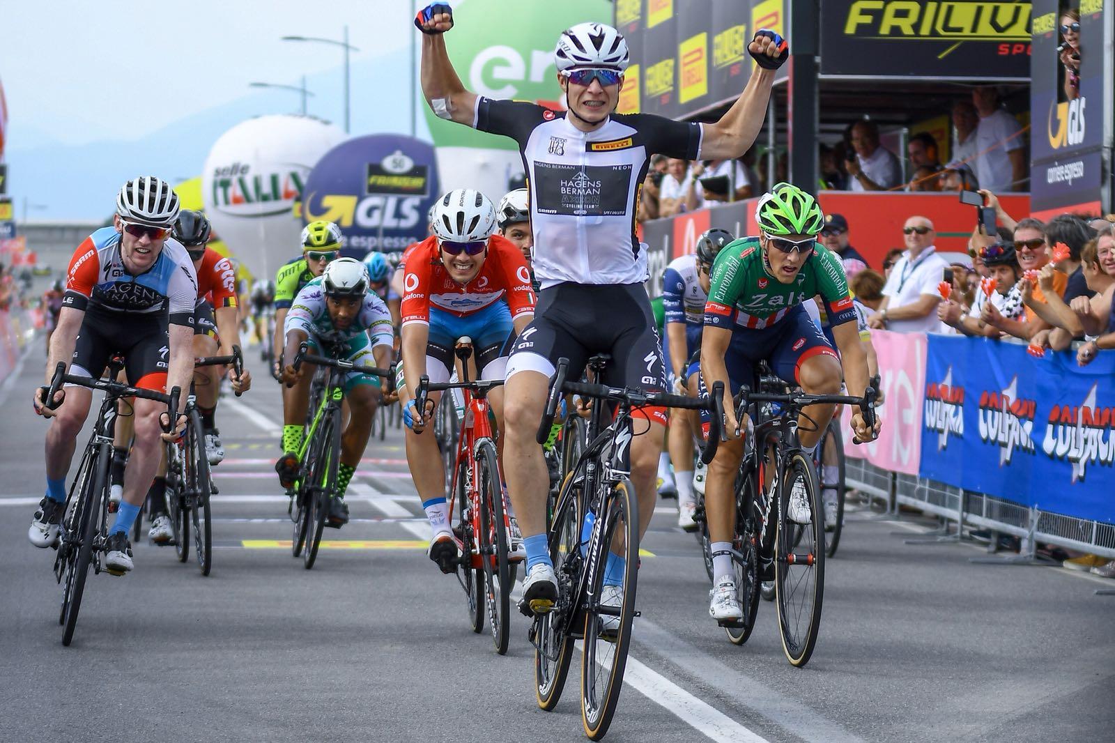Jasper Philipsen vince la terza tappa del Giro d'Italia Under 23 2018 a Mornico