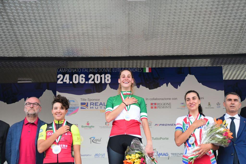 Il podio del Campionato Italiano Donne Junior 2018 vinto da Vittoria Guazzini