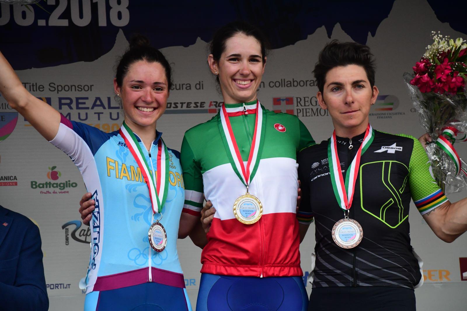 Il podio del Campionato iIaliano Donne Elite 2018 ad Agliè