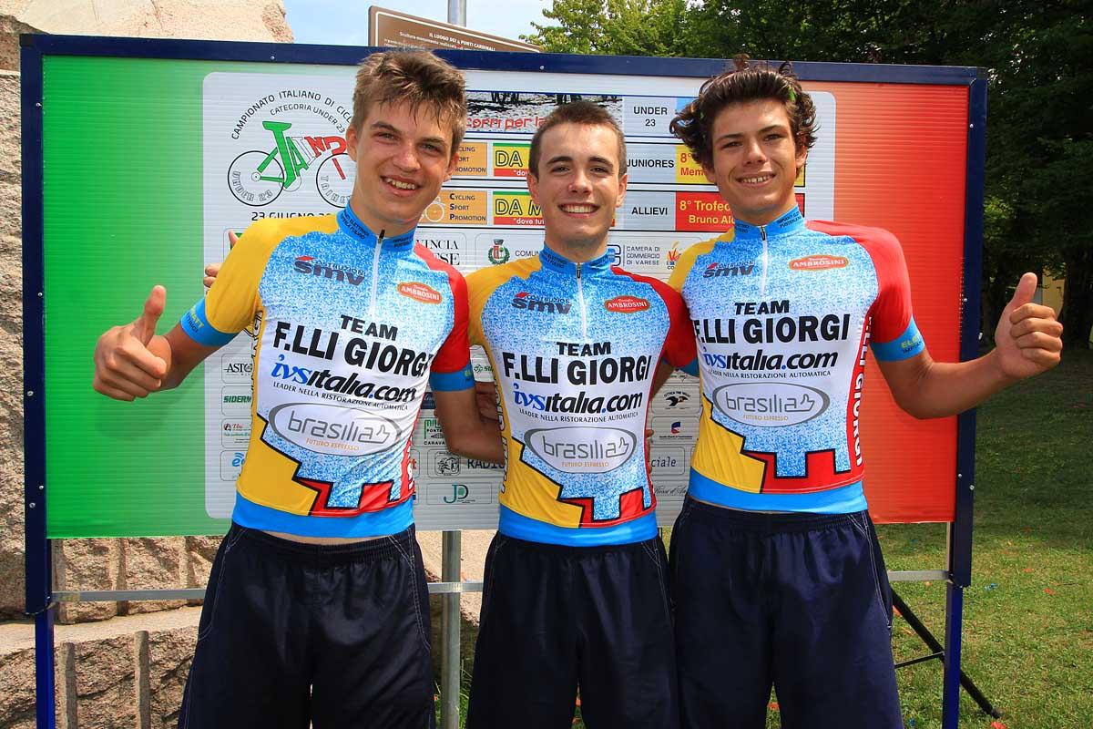 Il podio del Trofeo Da Moreno per Allievi di Taino