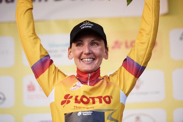 Lisa Brennauer leader del Lotto Thuringen Ladies Tour 2018 dopo la quinta tappa (foto Sean Robinson/velofocus.com)