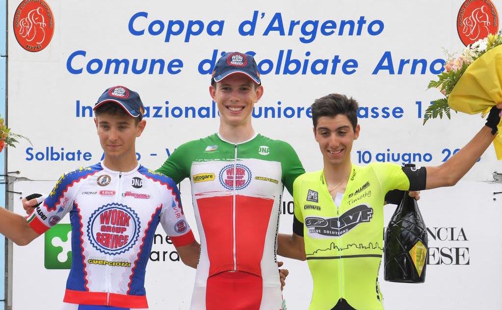 Il podio del Gp dell'Arno 2018 vinto da Alessio Acco