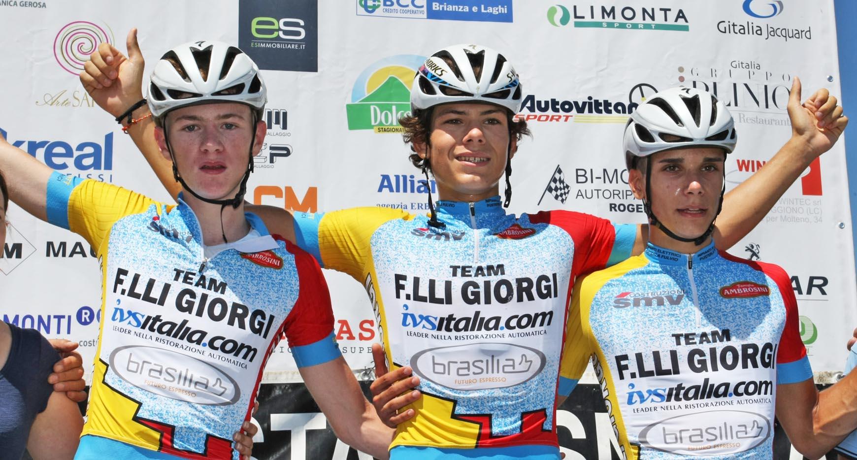 Il podio tutto Team Giorgi di Il Lombardia Giovani Allievi 2018