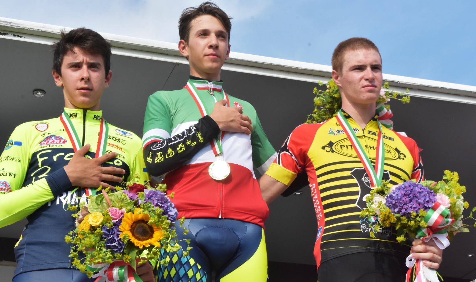 Il podio del Campionato Italiano a cronometro Juniores 2018 vinto da Andrea Piccolo