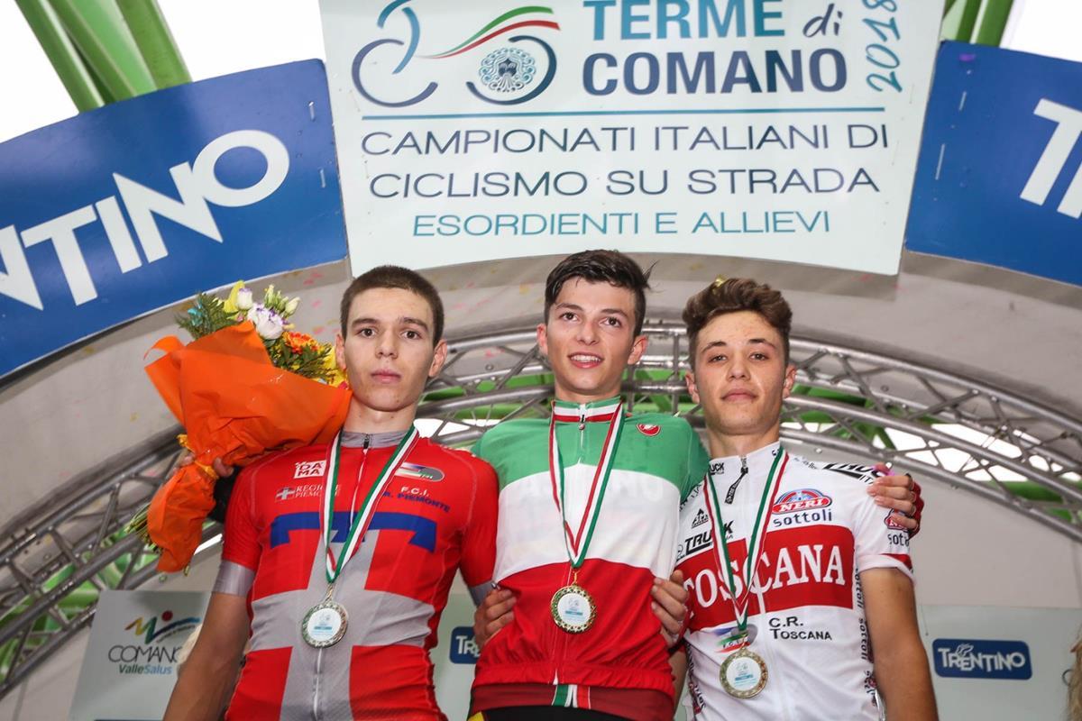 Il podio del Campionato Italiano Allievi Terme di Comano 2018