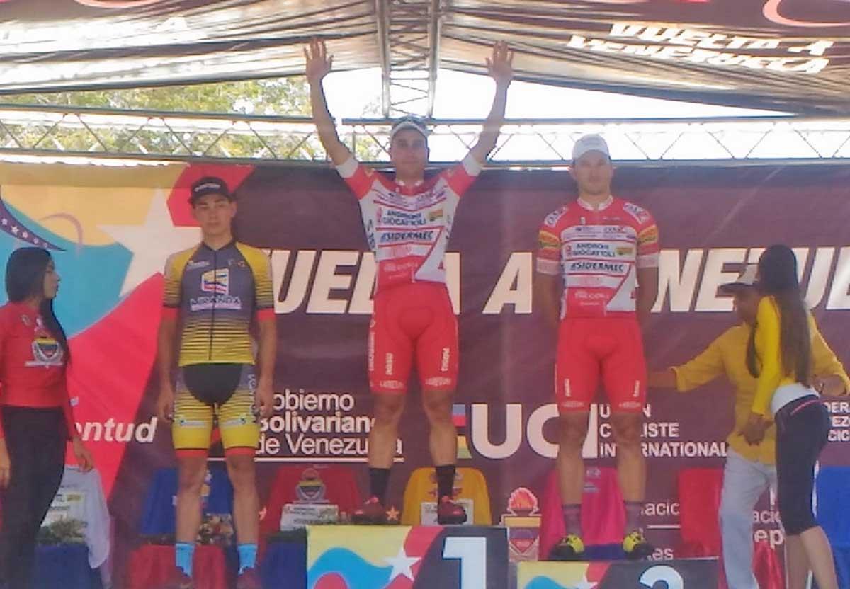 Il podio della prima tappa della Vuelta a Venzuela 2018 vinta da Malucelli