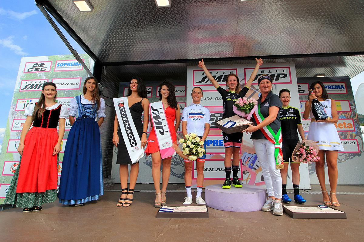 Il podio della nona tappa del Giro Rosa