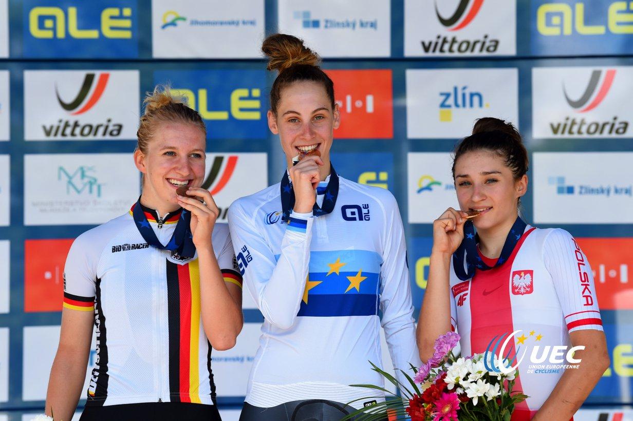 Il podio dei Campionati Europei crono Donne Junior 2018 vinti da Vittoria Guazzini