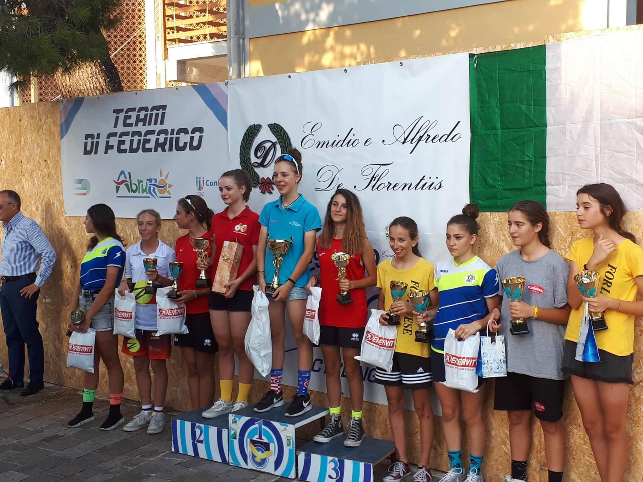 Il podio Donne Esordienti di Pescara