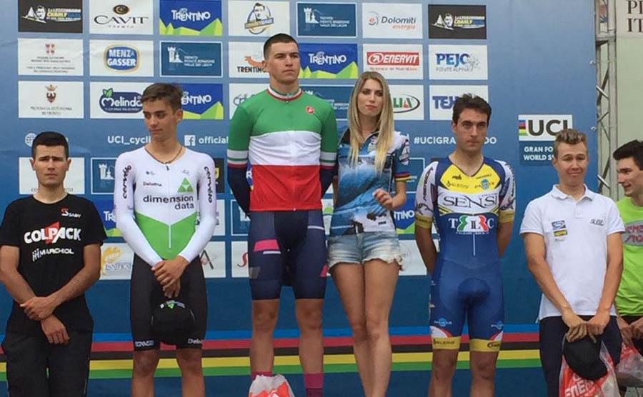 Il podio del Campionato Italiano Under 23 a cronometro 2018 vinto da Edoardo Affini