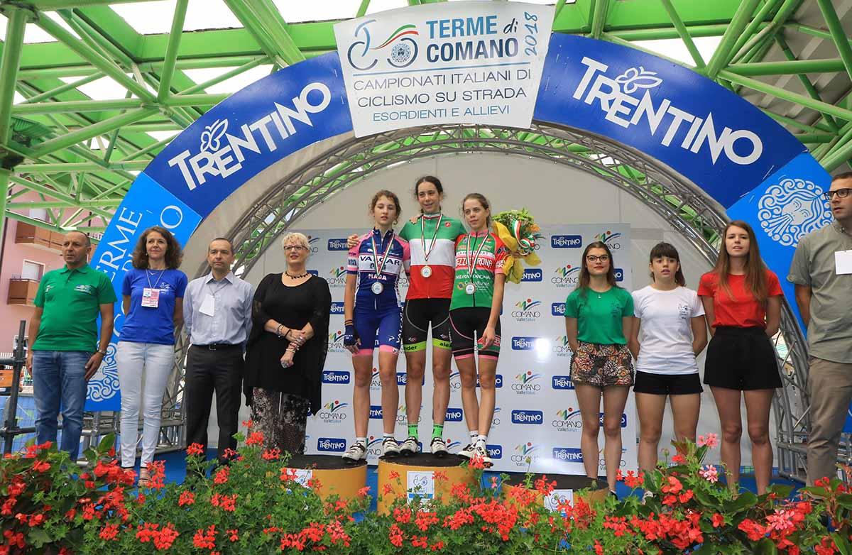 Il podio Donne Esordienti 1° anno del Campionato Italiano su strada 2018