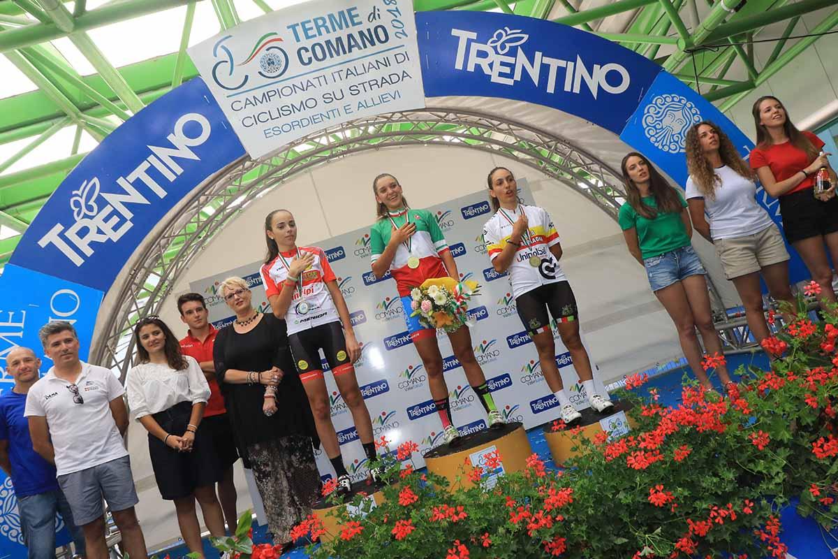 Il podio del Campionato Italiano Donne Allieve 2018 vinto da Eleonora Gasparrini