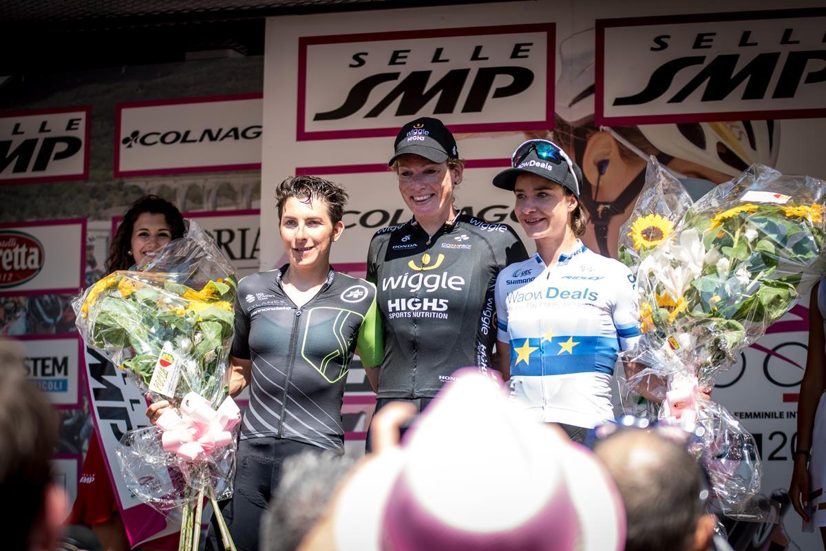 Il podio della seconda tappa del Giro Rosa 2018