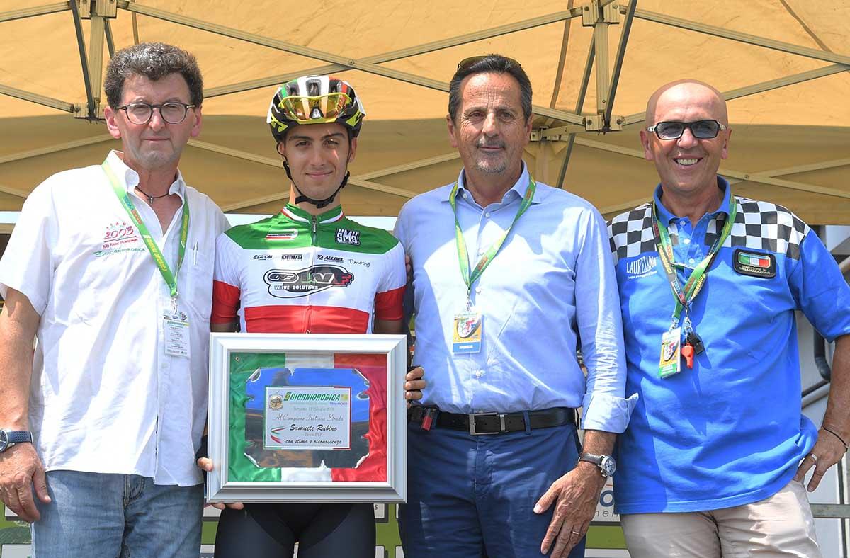 La premiazione del campione italiano Samuele Rubino