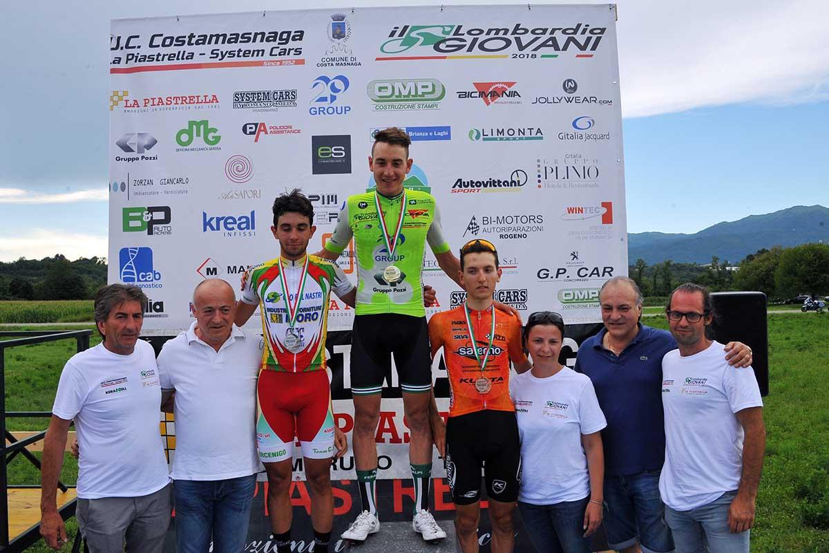 Il podio di Il Lombardia Giovani Juniores 2018