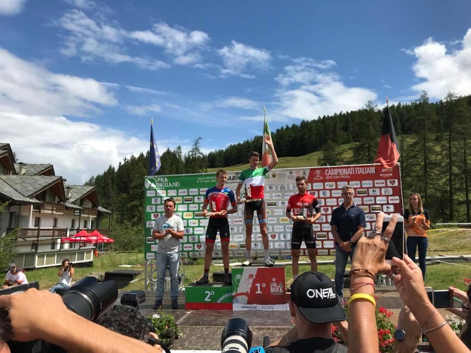 Il podio del Campionato Italiano XCO Under 23 a Pila