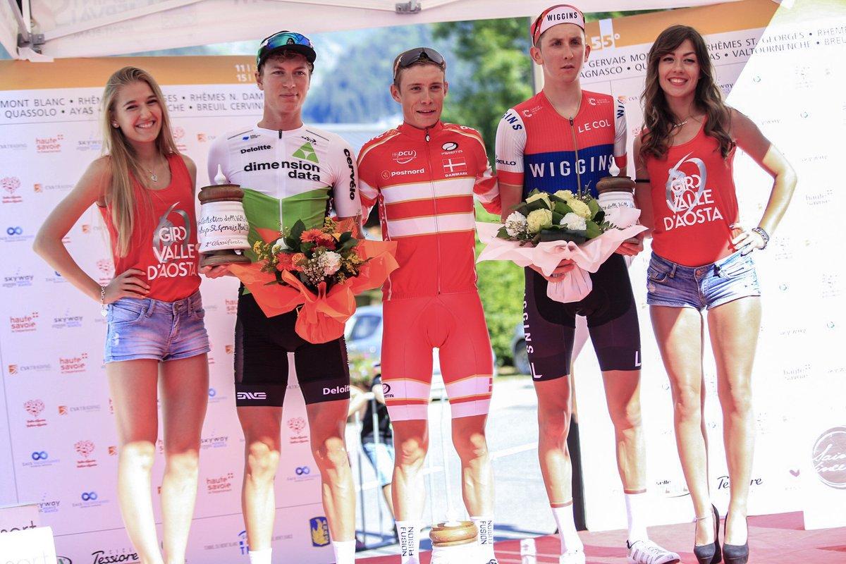 Il podio del prologo del Giro della Valle d'Aosta 2018