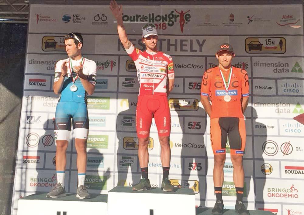Il podio della prima tappa del Giro d'Ungheria vinta da Manuel Belletti
