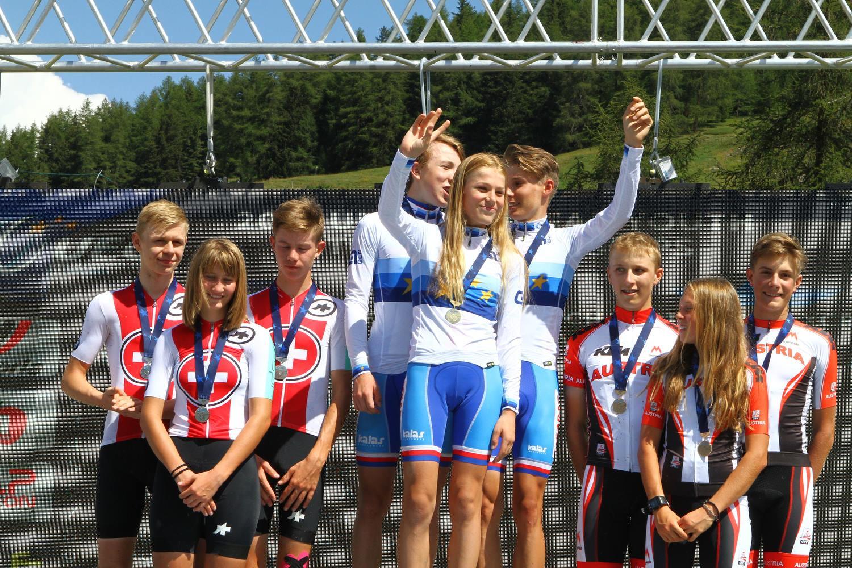 Il podio del Team Relay U17 degli Europei Giovanili MTB di Pila