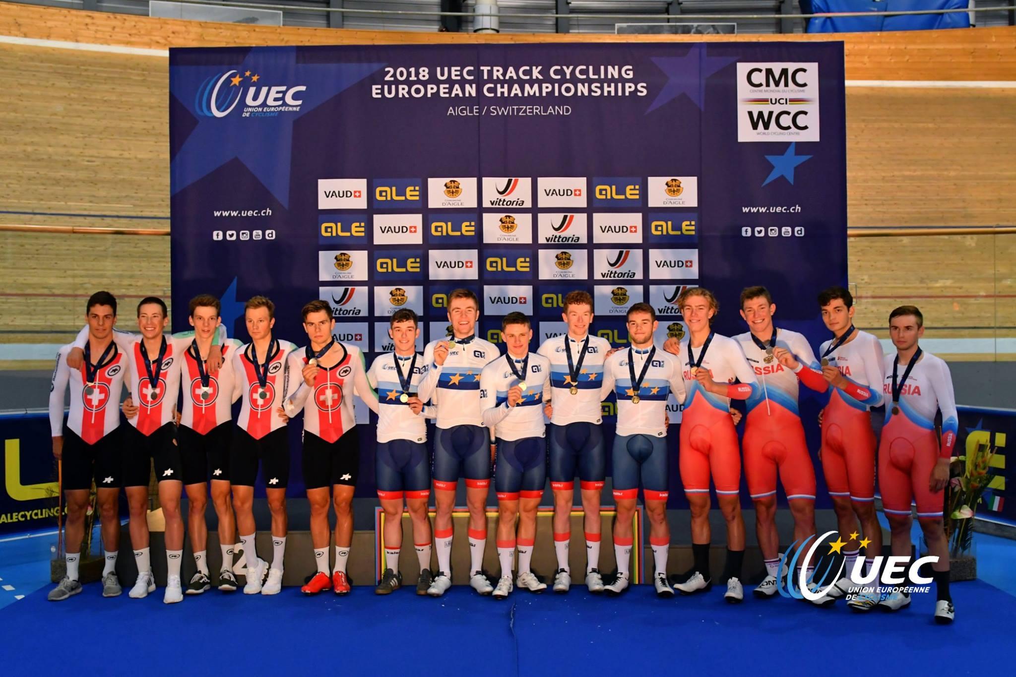 Il podio dei Campionati Europei Inseguimento a squadre Under 23