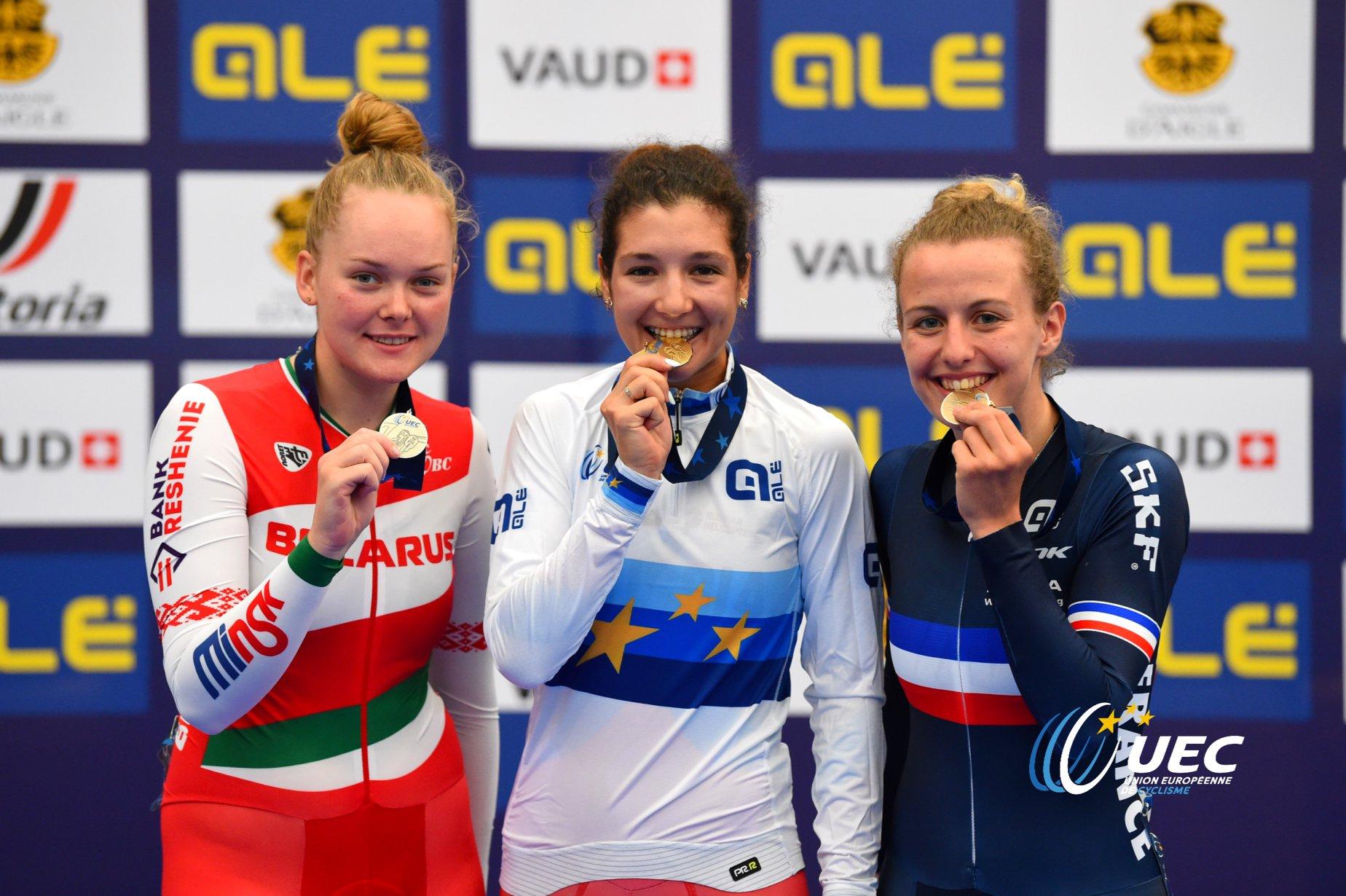 Il podio dei Campionati Europei Corsa a punti Donne U23
