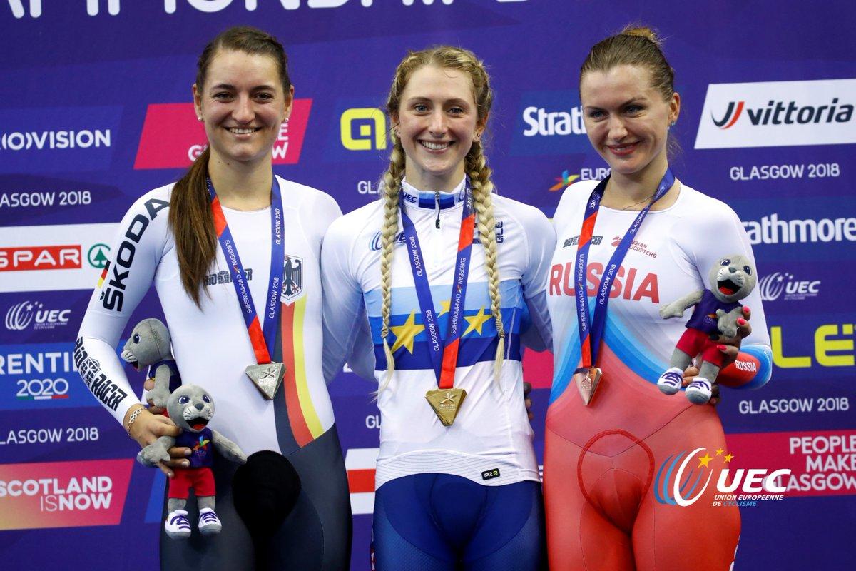 Il podio del Campionato Europeo Eliminazione Donne di Glasgow