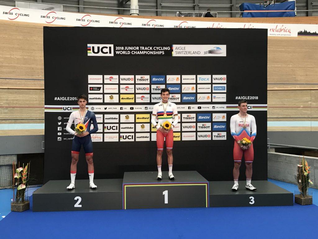 Il podio del Mondiale Velocità individuale maschile Juniores