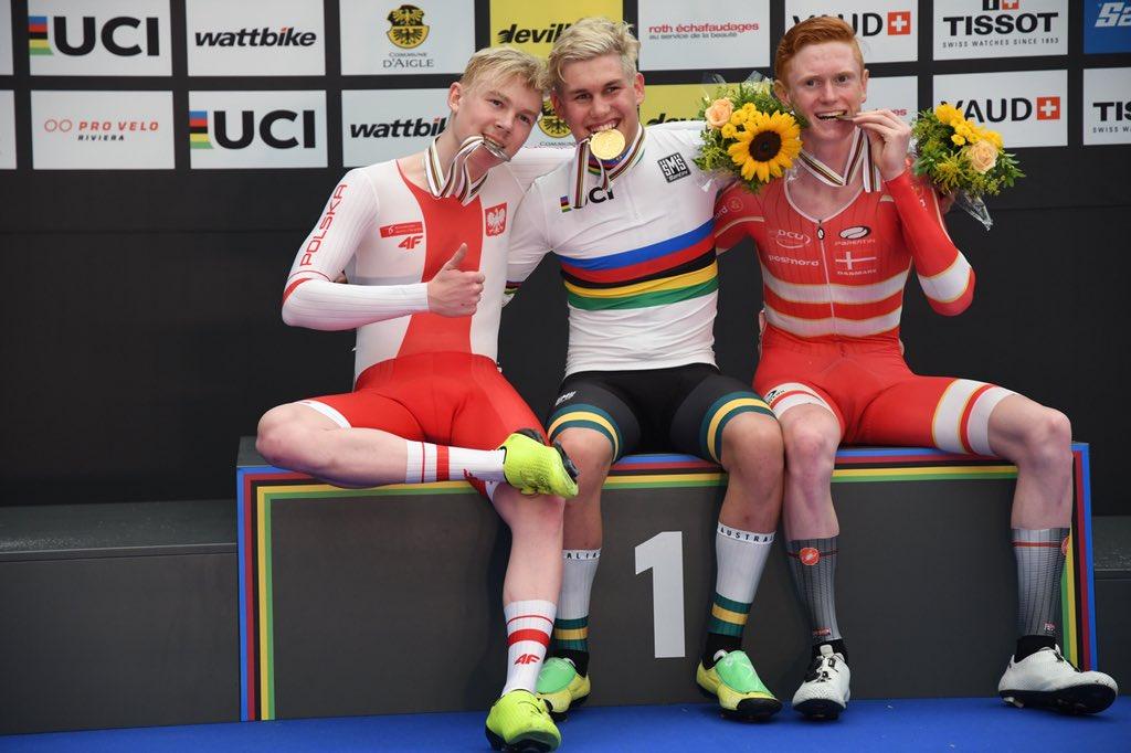Il podio del Mondiale Juniores Corsa a punti