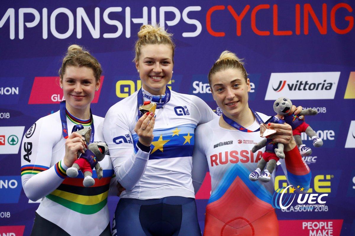 Il podio del Campionato Europeo Keirin femminile