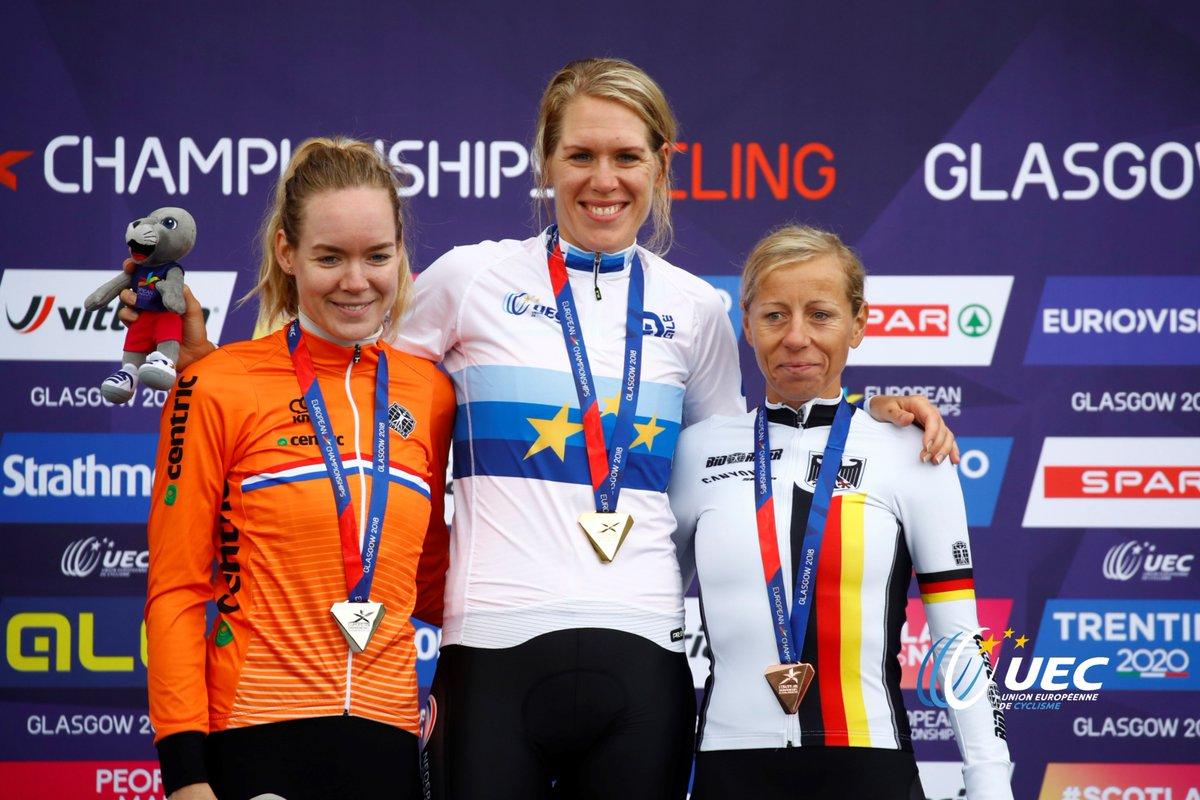 Il podio del Campionato Europeo a cronometro Donne Elite