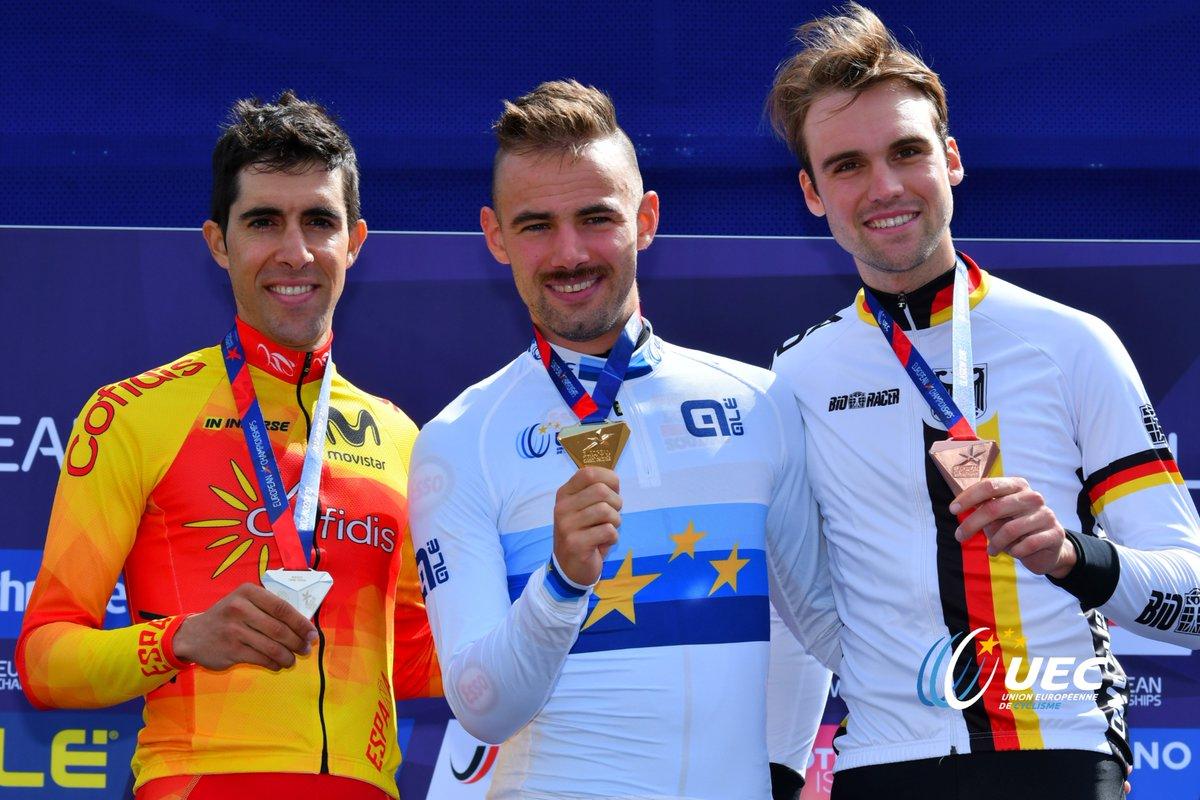 Il podio del Campionato Europeo a cronometro maschile