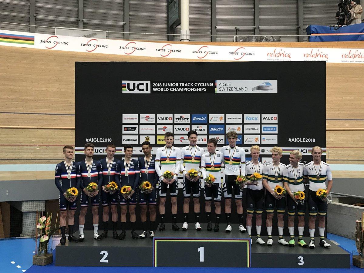 Il podio del Mondiale Inseguimento a squadre Juniores ad Aigle