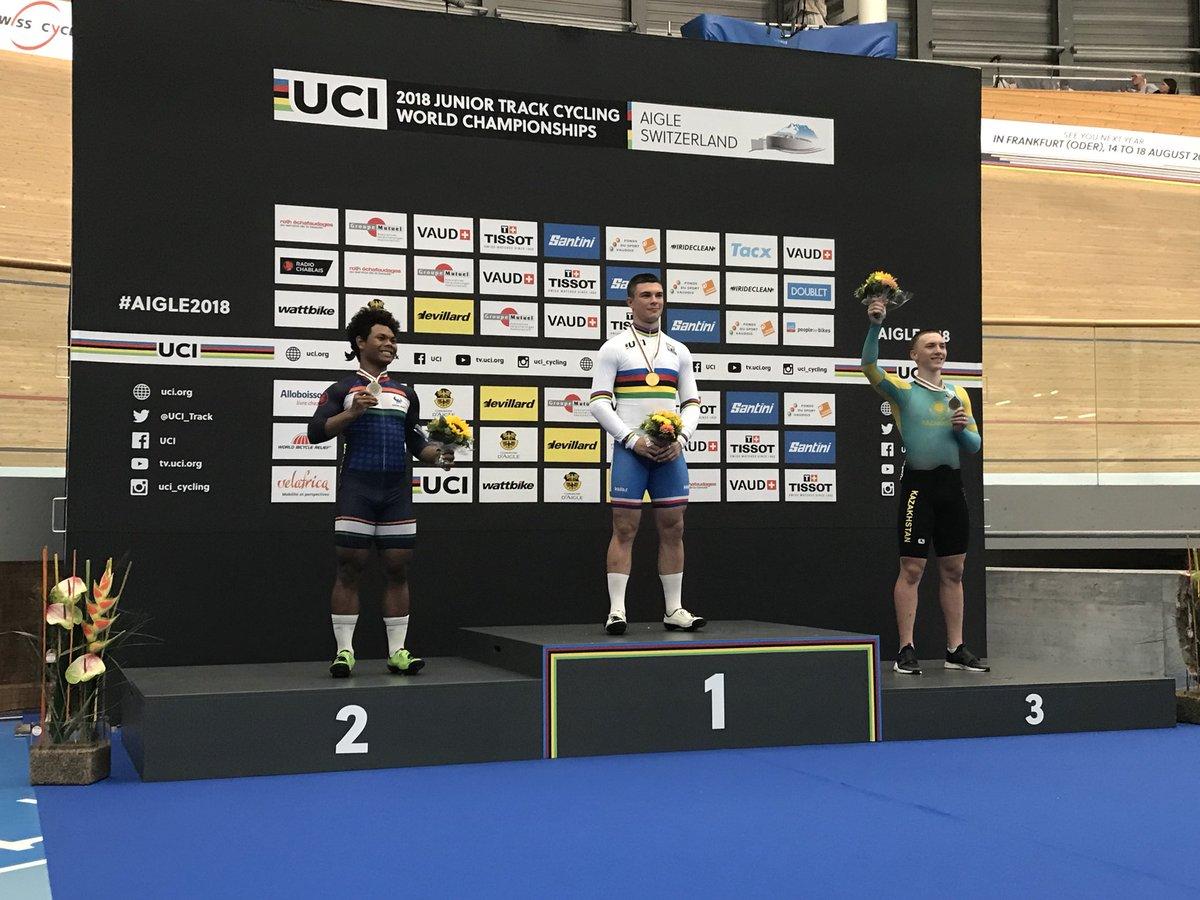 Il podio del Mondiale Keirin Juniores