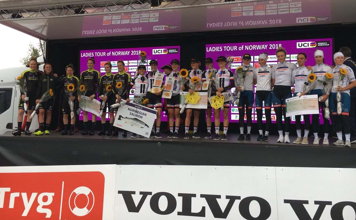 Il podio della cronosquadre Ladies Tour of Norway