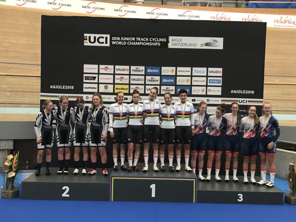 Il podio del Mondiale Inseguimento a squadre Donne Junior ad Aigle