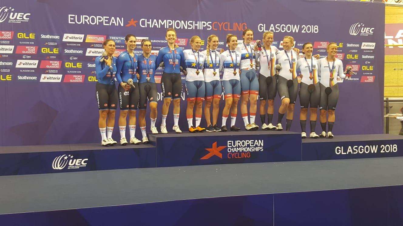 Azzurre sul secondo gradino del podio all'Europeo dell'Inseguimento a squadre