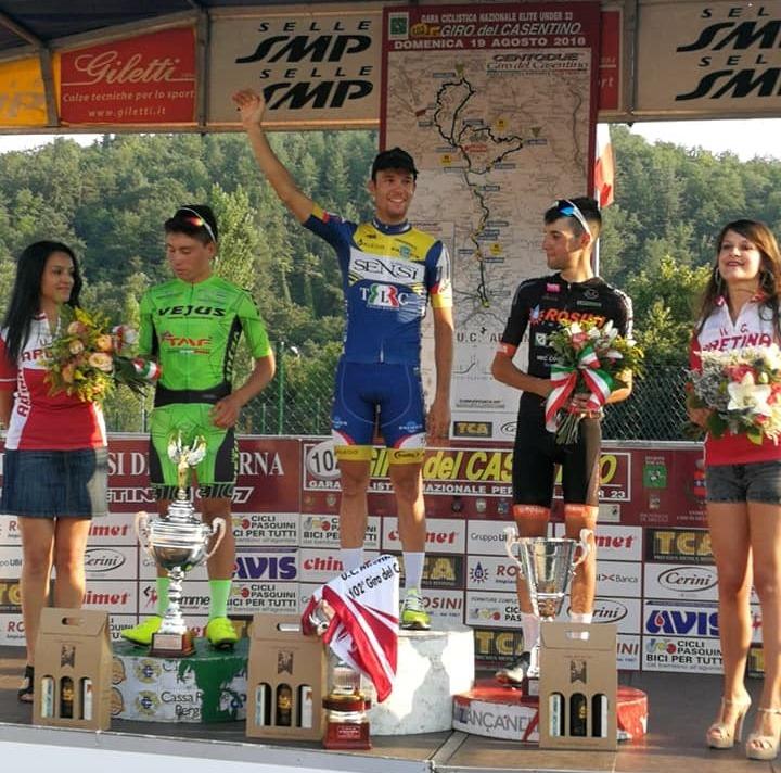 Il podio del Giro del Casentino 2018