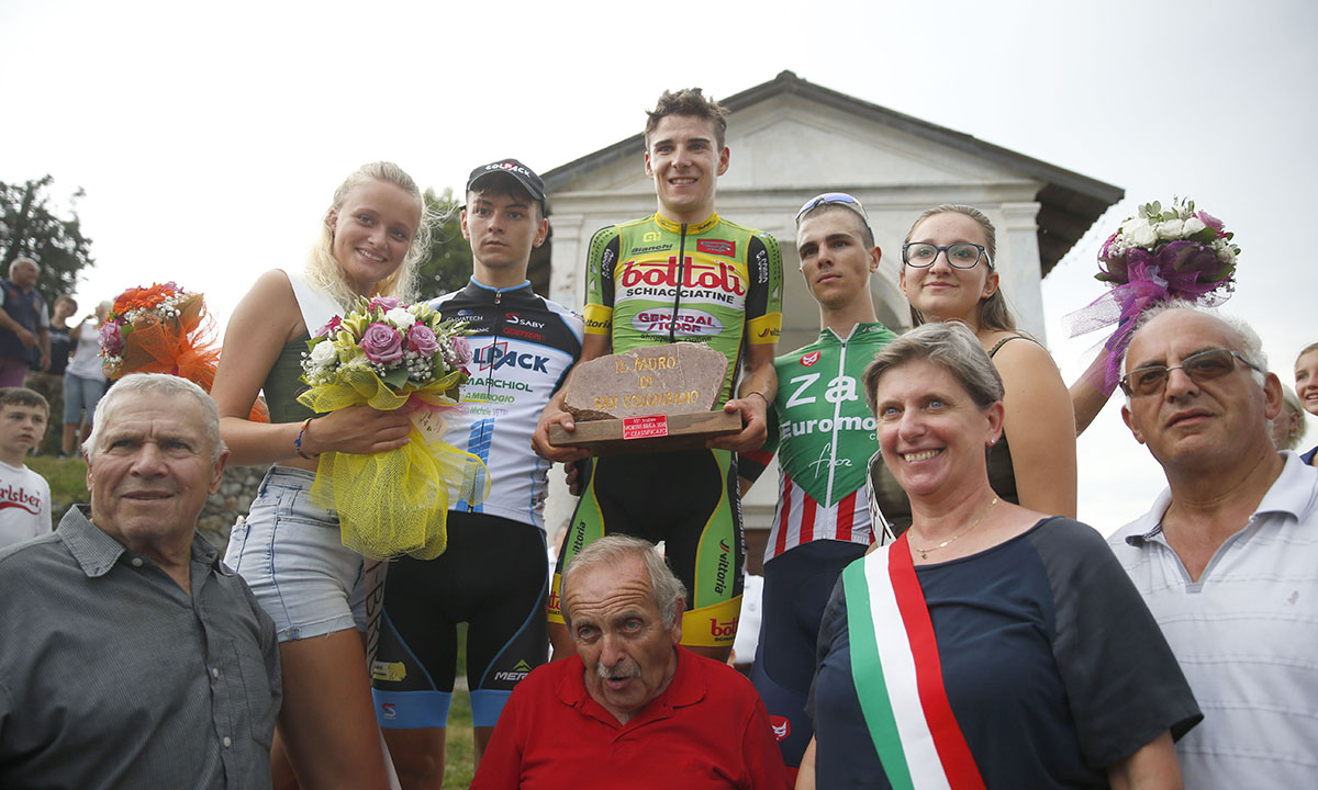 Il podio del Trofeo Sportivi di Briga 2018 vinto da Jakob Dorigoni