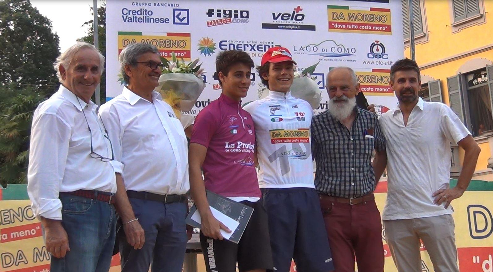 Lorenzo Balestra con la maglia bianca di leader e Luciano Camplone con la maglia fucsia di miglior giovane
