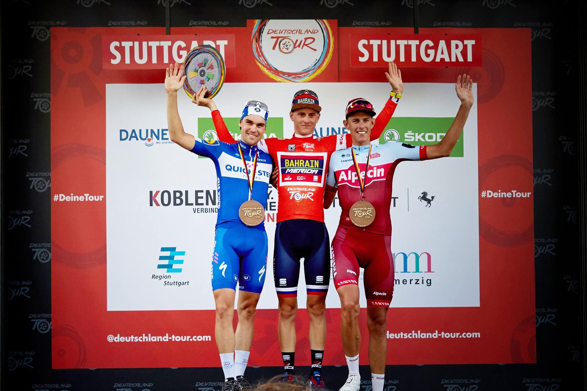 Il podio finale del Deutschland Tour 2018 vinto da Matej Mohoric