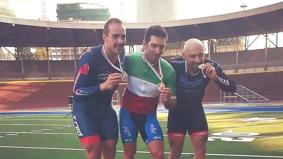 Il podio del Campionato Italiano Keirin Open maschile