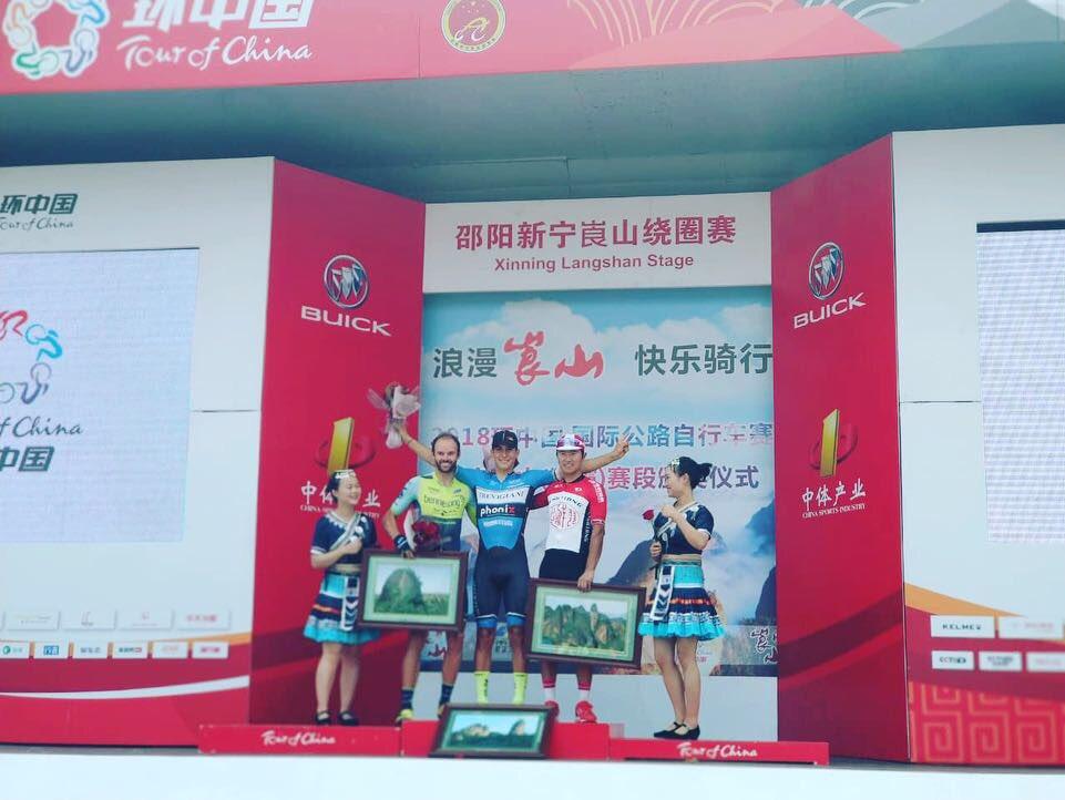 Il podio della settima e ultima tappa del Tour of China I