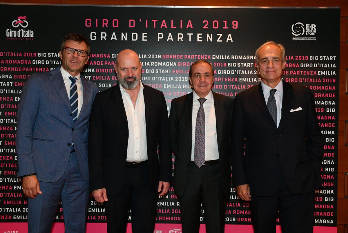 Da sinistra: Paolo Bellino,Stefano Bonaccini, Mauro Vegni e Andrea Monti (foto LaPresse)