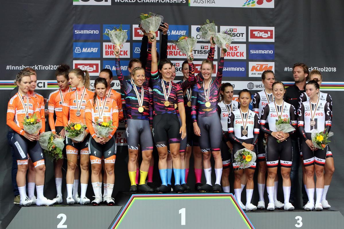 Il podio del Mondiale cronosquadre Donne Elite di Innsbruck 2018